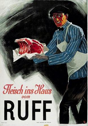 Monogramm E.E. - Fleisch ins Haus von